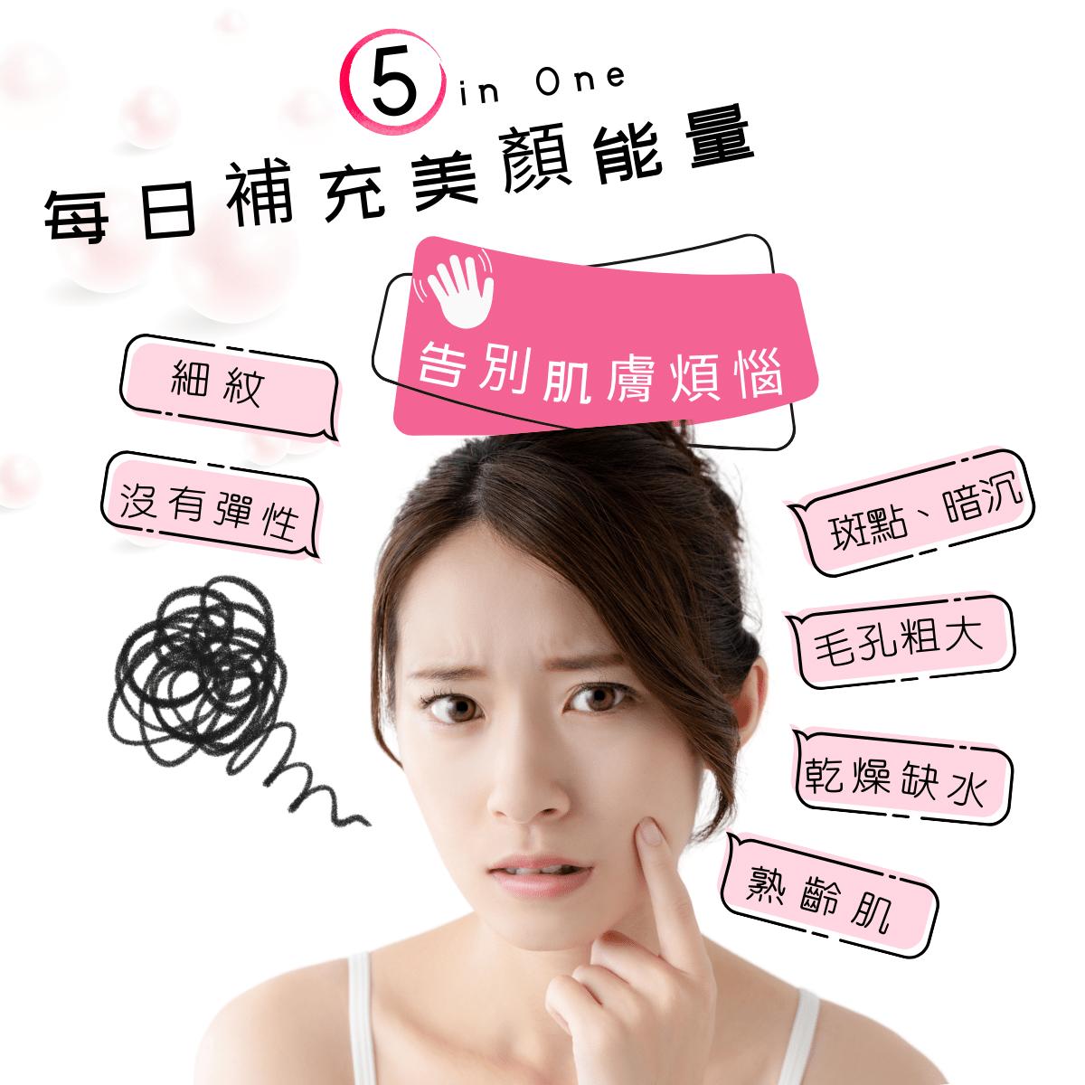 彈潤靚亮美妍錠 5 in one 每日補充美顏能量,告別惱人的肌膚問題
