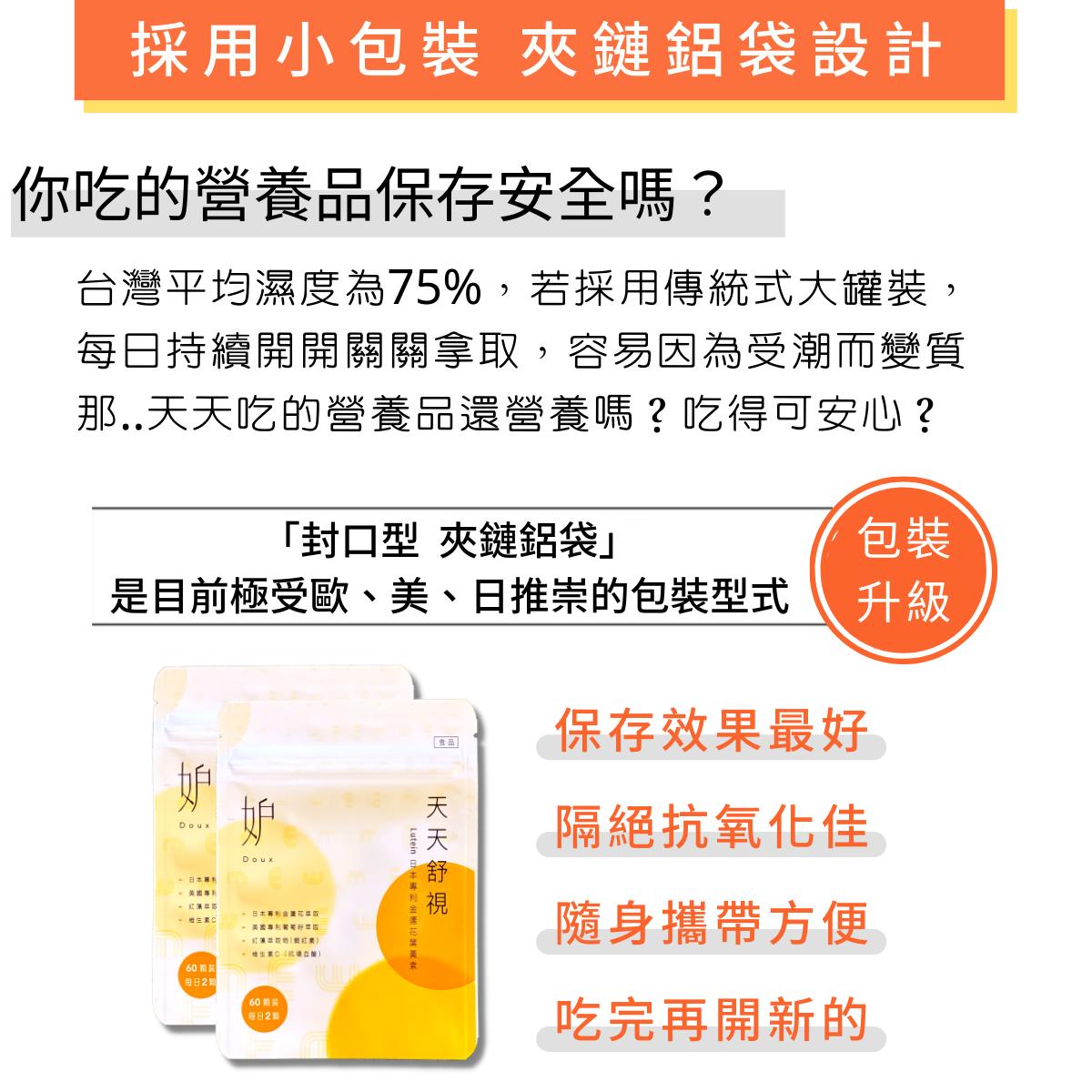 天天舒視 複方葉黃素膠囊:小包裝好攜帶,抗氧化維持產品穩定。